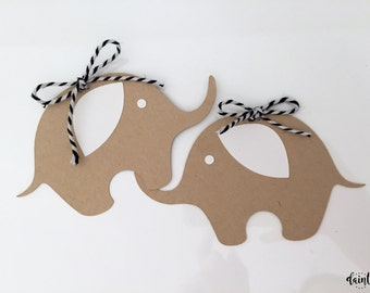 ELEPHANT tag, place card, gift tag, bunting, garland, banner, vintage, kraft card, birthday, baby shower, dessert table, nursery, gift tag
