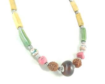 Ethnic necklace beaded African seeds rudrasha