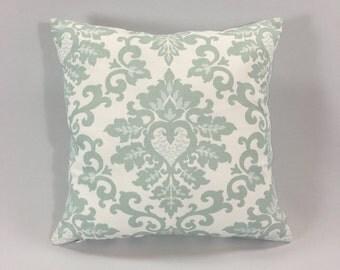 Snowy Blue Damask Pillow Cover - Cecilia Snowy Print - Decorative Pale Blue / Grey Throw Pillow - Accent Pillow -Hidden Zipper -Custom Sizes