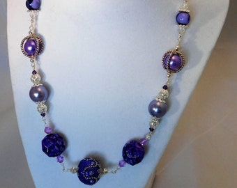 Beaded Necklace in a Perfect blend of Purples and Lavenders!