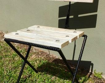Rebar Pallet Wood Rustic Bistro Patio Chair Reclaimed Wood Industrial Furniture Outdoor