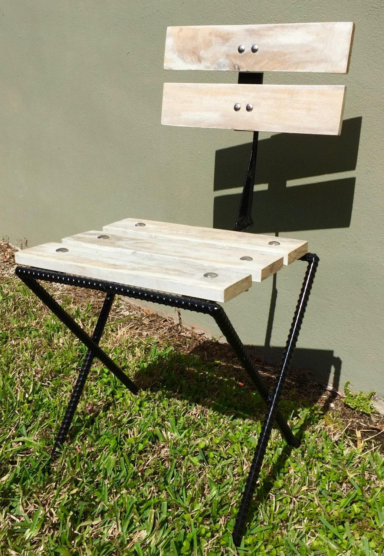 Rebar Amp Pallet Wood Rustic Bistro Patio Chair Reclaimed Wood