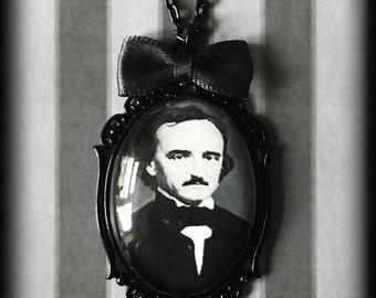 Edgar Allan Poe Glass Cameo Necklace - Gothic Victorian Steampunk