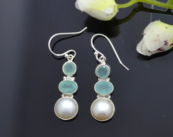 Aqua Chalcedony Earrings, Chalcedony Silver Earrings, Pearl Earrings, Pearl Silver Earrings, Silver Chalcedony Earring, Silver Pearl Earrnig