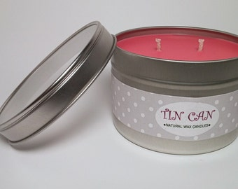 16 oz Natural Soy Wax Candle Tin with Clear Top Lid, You Pick Scent, You Pick Color, Made to Order