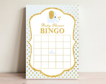 Blue Baby Shower Bingo, Boy Baby Bingo game,  Printable bingo card, Instant Bingo, Elephant Baby shower activities, Games printable, EP-01