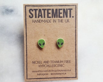 Green Alien Head Stud Earrings - 1 pair