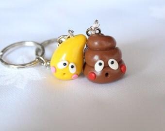 BFF Keychains Poop and pee Friendship Polymer clay Best Friend keychain bff funny Necklace kawaii charm friendship charm