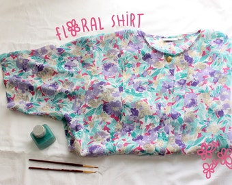 Short sleeve floral print Shirt / Short sleeve vintage floral shirt.