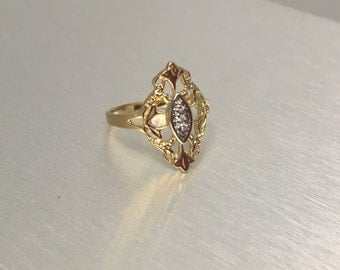 Detailed Silver Gold Plated Ring With Filagree