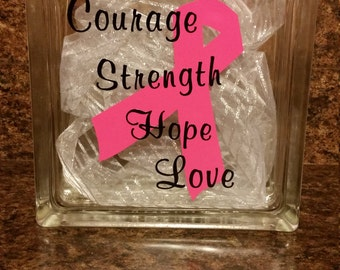 Courage Strength Hope Breast Cancer 8x8 Glass Block