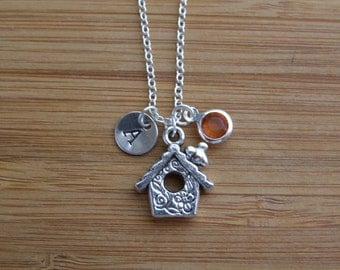 Birdhouse Necklace, Personalized Charm Necklace, Hand Stamped Initial Birthstone Necklace, Birthday Gift, Bird Lovers, Nature Lovers