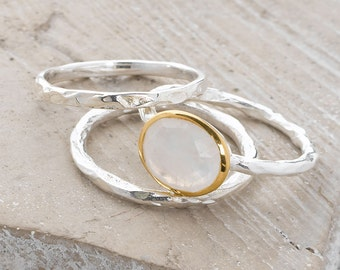 Handmade, Sterling Silver 925 and 9k Gold Plate Rainbow Moonstone Hammered Stacking Rings (Set of 3)