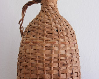 Wicker Wrapped Wine Bottle