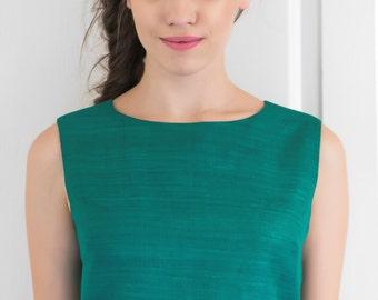 Green Raw Silk Crop Top