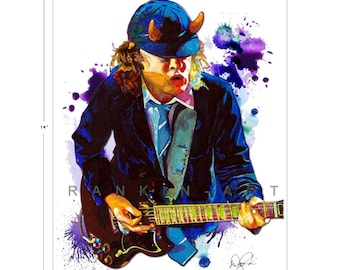 Angus Young of AC/DC,  11x14 in, 29x36 cm, Signed Art Print w/ COA