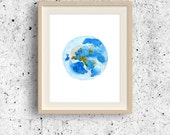 Earth watercolor art, Planet Earth print, Planet wall decoor, Solar system collection, World globe print, Earth Wall Art, Giant Earth Poster