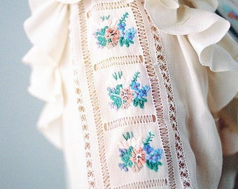 White Top OOAK Hand Embroided Lace Vintage