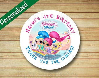 40 PRINTED SHIMMER and SHINE Birthday Party Stickers Round Genies Labels Leah Circle Tags Cupcake Toppers Parties Bag Label Genie Loot Bags