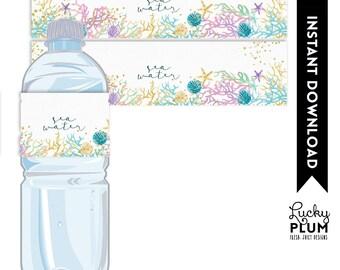 Mermaid Water Bottle Label / Starfish Water Bottle Label / Under the Sea Water Bottle Label / Mermaid Napkin Ring / Ocean Printable MD02