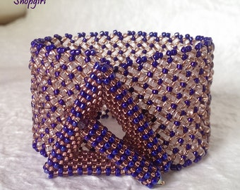 Straight as an Arrow Bracelet - beadwoven cuff of twin beads and a triangle toggle