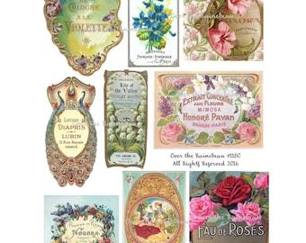 Vintage Perfume Label - Vintage French Label - Digital Collage Sheet - 1180 - Soap Label - Cologne Label  - Instant Download - Ads - Label