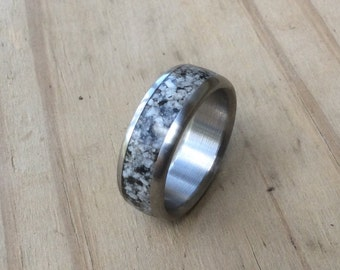Handmade Ring, Titanium and Granite Ring, Wedding Ring, Mens Ring, Womens Ring, Unique Ring, Stone Ring, Engagement Ring, Wedding Band Set