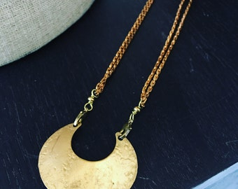 Crescent Moon Long Brass Statement Necklace - Geometric Gemstonet pendant necklace - brass - Moon Necklace - Bridal Accessory