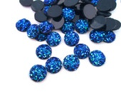 10 metalic blue 10mm round multicolor resin druzy cabochons drusy cabs, E167