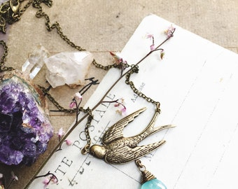 A s c e n d...Aqua chalcedony necklace, Swallow bird, boho, Throat Chakra, Moon, Brass layering necklace, Etsy Gifts for Her FREE SHIPPING