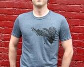 Men Graphic Tee, T Shirts For Men, Screen Print Shirt, Crow Shirt, Gray Mens TShirt, Graphic T Shirt, Raven Shirt, Crew Neck Tee, Crow Tee