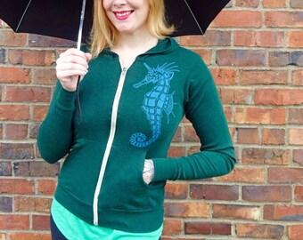 Unique Gift For Her, Sweatshirt For Her, Hoodie For Her, Gift Hoodie, Cute Hoodie, Green Hoodie, Shirt, Unicorn Sweatshirt, Seahorse