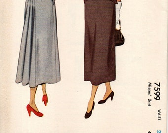 McCall 7599 Slim Skirt Released Back Pleats Form Drape  ©1949 Collectible Condition