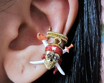 Pirate Ear Cuff - Skeleton Ear Cuff - Skull Ear Cuff - Pirate Earrings - Pirate Jewelry - Skull Earrings - Halloween Ear Cuff - Aldesigns