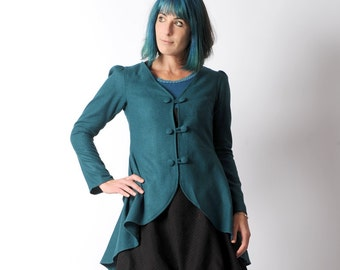 LAST ONE Teal blue jacket, Blue wool blend swallowtail jacket, Teal blue womens jacket, Blue steampunk jacket