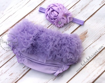 Baby Girls Bloomers Headband Set Photo Prop / Chiffon Ruffle Diaper Cover / Infant Cotton Knickers Light Purple | More Colors