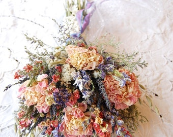 Montana Romance and Lace Brides Wedding Bouquet   Lavender and Blush Peonies, Blue & Pink Larkspur Paula Jeans Garden