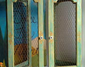 2 Aqua Blue & Marigold Yellow Chalk Painted Wooden Shutters, Chicken Wire, Folding Screen Divider, Copper Curtain Rods