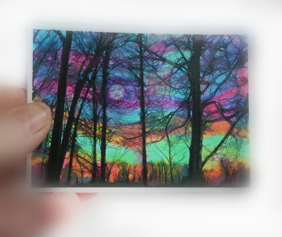 winter moon rising aceo original inches colorful. Black Bedroom Furniture Sets. Home Design Ideas