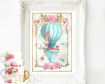 Marie Antoinette, print, hot air balloon, French vintage decor, high tea, pink roses, blue, French patisserie, wall art, home decor
