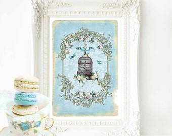 Bird cage print, bird cage art, vintage home decor, vintage bird cage, blue nursery decor, French decor, French country, French provincial