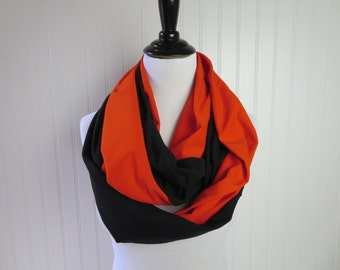 Halloween - Orange & Black Scarf - Halloween Scarf -Orange Scarf - Halloween Infinity Scarf - Infinity Scarf