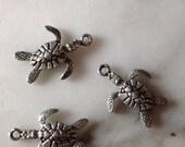 Tiny Sea Turtle Charms, Set of 2, destash