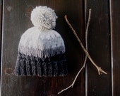 Kid Winter Hat   Hand Knit Baby Hat   Winter Hat   Pom Pom Hat   Gray Ombre Hat   Ready to Ship
