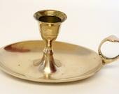 Brass Candlestick Holder with Oval Base & Finger Loop