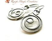 Sterling Silver Earrings, Rustic Minimalist Abstract Jewelry, Edgy Urban Earrings, Silver Spiral Swirl Dangles, Oxidized Sterling Jewelry