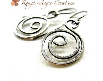 Antique Sterling Silver Earrings, Rustic Silver Sterling Jewelry, Edgy Urban Earrings, Silver Spiral Swirl Dangles, Oxidized Sterling  E126