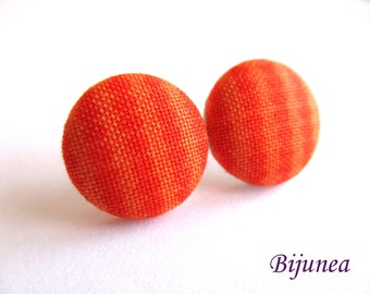 Orange Stripes earrings - Orange dot stripe stud earrings - Orange posts - Stripes studs - Dots post earrings sf1295