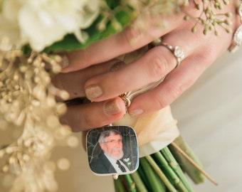 Bridal Bouquet Photo Charm - Bouquet Memorial Jewelry - BC1R