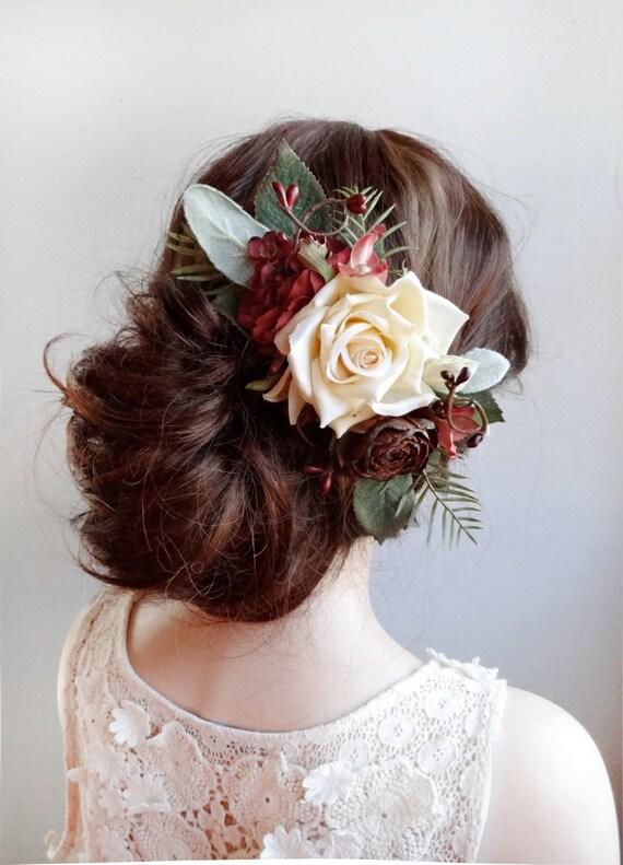 Wedding Hair Piece Burgundy Wedding Cream Hair Accessories